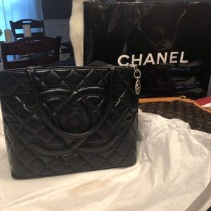Black Chanel medallion tote